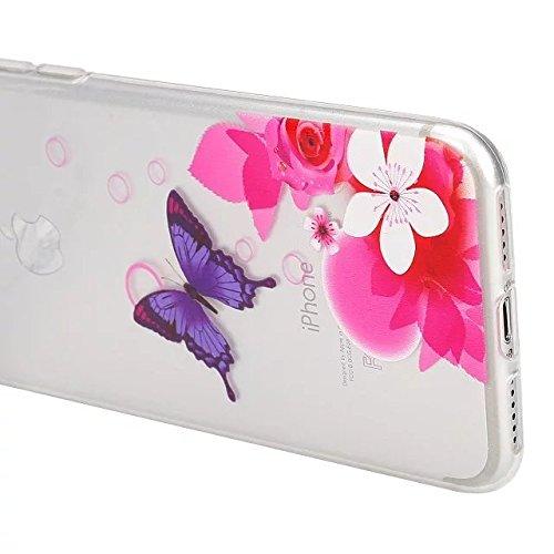 Etsue Coque Housse pour [iPhone 6/6S] Case ,Joli Imprimé Peint énergie Papillon Motif Design Anti-Scratch Protector Coque de Téléphone pour iPhone 6/6S Transparente Ultra Mince Supérieur Semi Transpar Papillon Pourpre,Fleur Rose