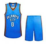 Herren Basketball-Trikot, Weiß, Blau 0 Wesbrooke Wei Herren Anzug Less Stickerei Jersey, blau, Medium