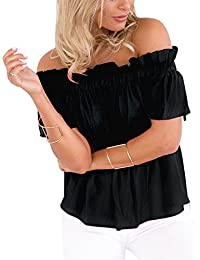 Top Ladies shoulder free t-shirt off shoulder blouse loose tunic short sleeved back free shirt tops