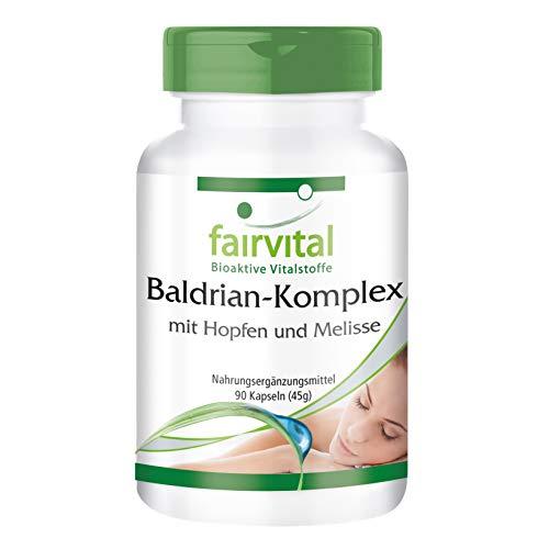 Baldrian Komplex - VEGAN - HOCHDOSIERT - 90 Kapseln - mit Hopfen und Melisse