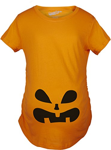 Kostüme Halloween Baby Und Sohn Mutter (Crazy Dog TShirts - Maternity Surprised Pumpkin Face Funny Halloween Pregnancy Announcement T shirt (Orange) XL - damen -)