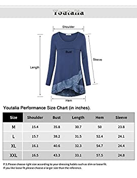 Youtalia Casual Long Sleeve Tops Women, Ladies Round Neck A Line Irregular Hem Patchwork Tie Dye Blouse Shirts(black,medium) 4