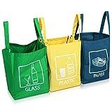 Navaris 3er Set Recycling Taschen für Mülltrennung - Glas Plastik Papier Behälter - Mülltrennungssystem sehr stabil - 45x32x32cm pro Tasche