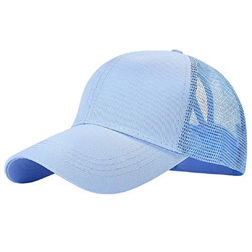 Tuopuda cappellino da baseball sonnena berretto da baseball tinta unita berretto di coda di cavallo cappello snapback regolabile da baseball per donna cappellini da baseball visiere (azzurro)