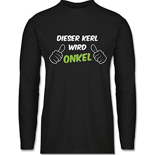 Shirtracer Bruder & Onkel - Dieser Kerl Wird Onkel - Herren Langarmshirt Schwarz