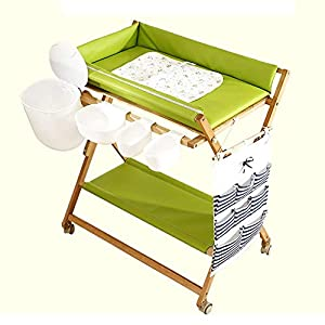 Baby Changing Table Heavy Duty Wooden, Folding Infant Diaper Station Nursery Organizer with Wheels & Storage   5