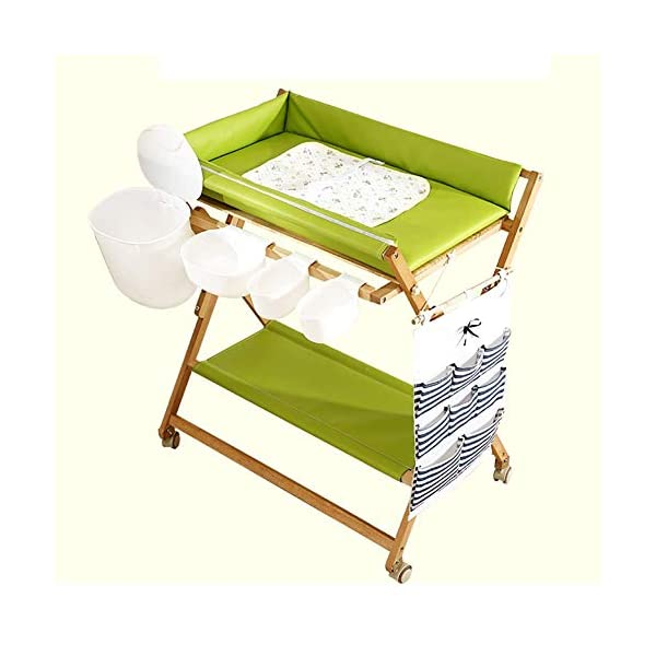 Baby Changing Table Heavy Duty Wooden, Folding Infant Diaper Station Nursery Organizer with Wheels & Storage GUYUE Beech Material: Birch wood hard, good load bearing performance, no deformation, strong pressure resistance, clear texture. High-grade PU Leather: It has excellent wear resistance, excellent breathability, aging resistance, soft and comfortable. Size: As shown, 80x56x(80-85-90-95)cm, Bearing weight 150kg. 1