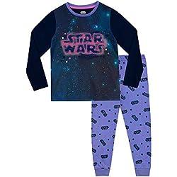 STAR WARS Pijamas de Manga Larga para niñas La Guerra de Las Galaxias Púrpura 7-8 Años