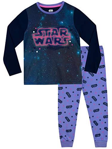41nKlAxGRhL - STAR WARS Pijamas de Manga Larga para niñas La Guerra de Las Galaxias Púrpura 7-8 Años