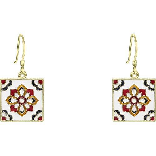 S925 Silber Nadel Ohrringe Marokkanische Bodenfliesen Quadratische Ohrringe Damen Accessoires 3,2 * 1,8 Cm
