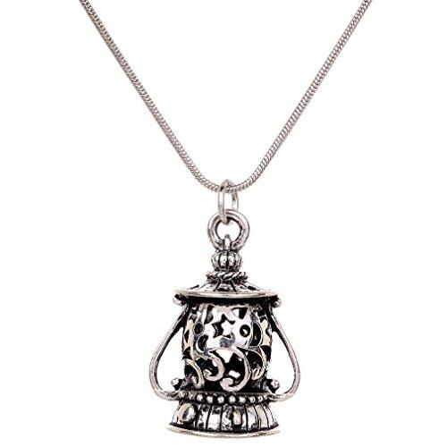 Yaizlind Retro-Silber überzogene Geprägte Form der Lampe hängende Kettenhalsketten Bekleidung Damen (Geprägte Bekleidung)