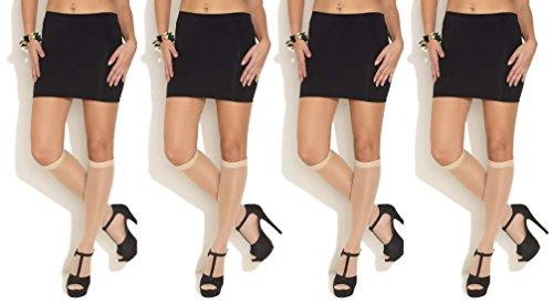 Neska Moda Women's 2 Pair Nylon Skin Beige Knee Length Classy Stockings Tights  available at amazon for Rs.149