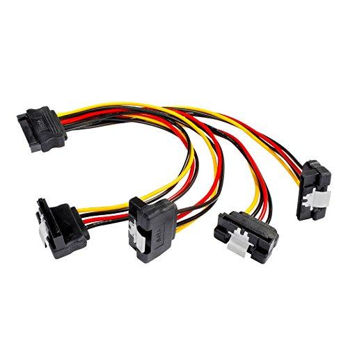 Poppstar 1x 20cm SATA Stromkabel Adapter (vierfach) (1x Stecker (m) auf 4x Buchse (w) gewinkelt), Stromadapter für HDD, SSD, Festplatte, Motherboard, PC Case Modding uvm. - Stromkabel Computer Winkel