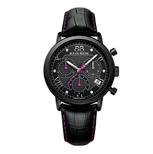 88 Rue Du Rhone Ladies Black Leather Chronograph Diamond Set Watch...