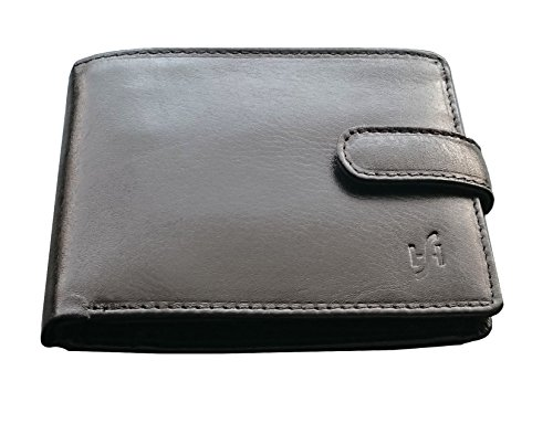 StarHide® Männer, Herren Echt Weiches Gemüse Gegerbtes Designer Leder Brieftasche Passage In Einer Präsentation Geschenkbox #5002 (Schwarz)