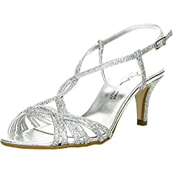 Vista Damen Sandaletten Glitzeroptik silber, Größe:39;Farbe:Silber