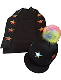 e5f8419c5d6 SXC Eco Star Cross Country Colour XC Stars Black Eventing Hat Silk Cover  Equestrian