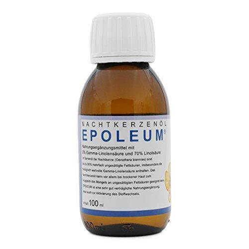 Olio di enotera con acido gamma-linolenico (acidi grassi sani omega-6), spremuto a freddo, ideale per la pelle secca, Epoleum, 100 ml ...