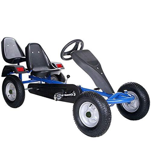 ArtSport 2-Sitzer Gokart mit Schalensitz, Luftreifen, Stahlfelgen & Freilauf | blau | Kinder Tretauto Kinderfahrzeug
