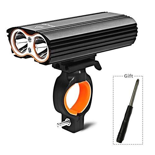 Lesrly-Cycle Fahrradlicht USB wiederaufladbare, 2 T6 LEDs Fahrradlampe 2400 Lumen Superhelle wasserdichte Front Fahrradbeleuchtung, Taschenlampe - für Camping/Nachtfahrten, schwarz