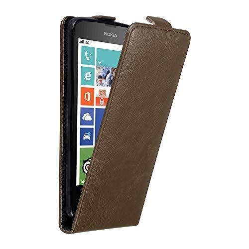 Cadorabo Nokia Lumia 630/635 Custodia di Finta-Pelle Flip in Bruno caffè – Protezione in Stile Flip di Similpelle Fine – Portafoglio Cover Case Wallet Book Etui Protezione