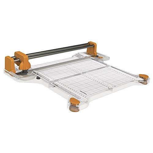 Fiskars ProCision Multimaterial-Schneidemaschine, A4, Für besonders dicke Materialien, Mit doppeltem Führungsschienensystem, Orange/Weiß, 1015748
