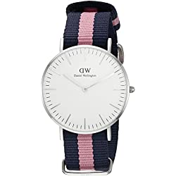 Daniel Wellington Winchester Silver Women's Quartz Watch with White Dial Analogue Display and Multicolour Nylon Strap 0604DW