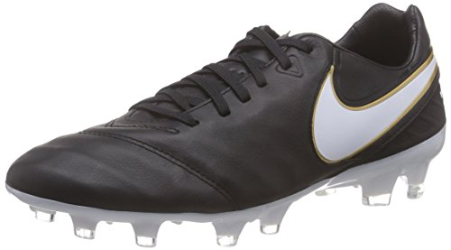 Nike Tiempo Legacy Ii Fg, Chaussures de Football Compétition Homme, UK Negro / Blanco (Black / White-Metallic Gold)