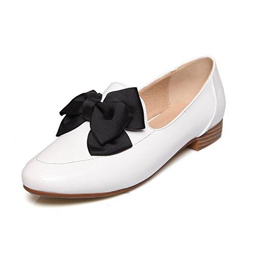AllhqFashion Femme Rond Tire Pu Cuir Couleur Unie à Talon Bas Chaussures Légeres Blanc