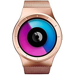 ZIIIRO Celeste Rose Gold - purple Watch Unisex Uhr Stahlmaschenband / Designed in Germany