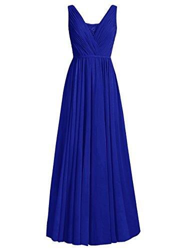 Dresstells Robe de cérémonie Robe de demoiselle d'honneur forme empire col U longueur ras du sol Bleu Saphir