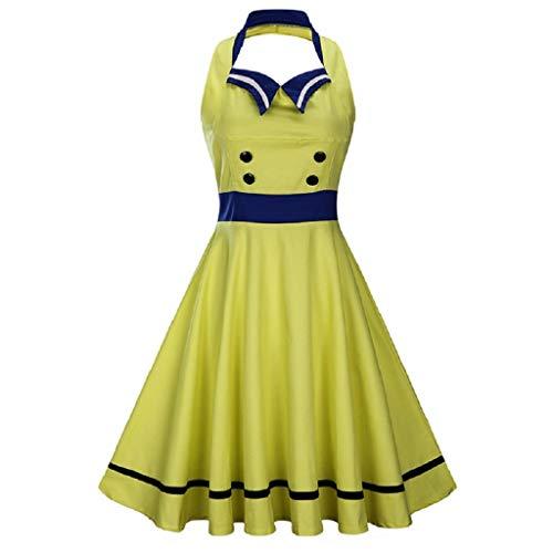 Soupliebe Frauen NäHte Kontrast Farbe GroßE Swing Kleid Retro Ärmelloses Halfter Kleid Abendkleider Cocktailkleid Partykleider Blusenkleid