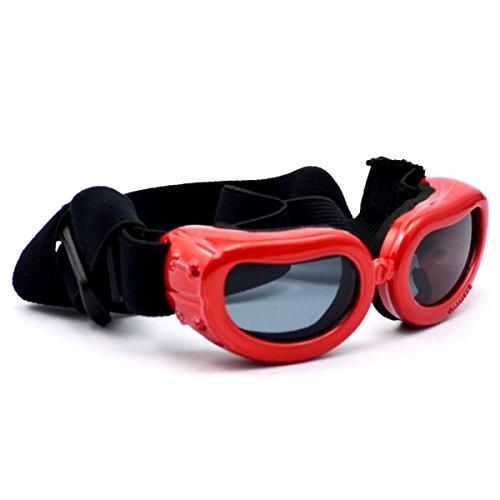 Homedecoam Hund Brille Sonnenbrille UV-Schutz Anti-Fog Brille für Ultra-kleine Hunde Rot