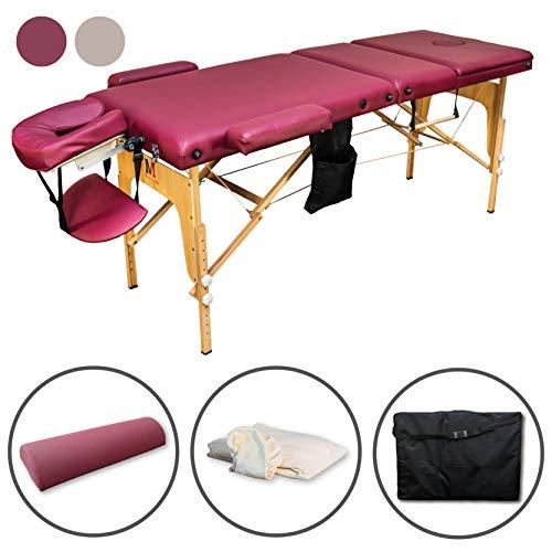 MASSUNDA Massunda All Inkl Massage-Liege klappbar und höhenverstellbar - mobiler Massagetisch aus Vollholz inkl. Frotteebezug, Arm- und Rückenlehne, Nackenkissen, ergonomische Kopfstütze (Burgund)