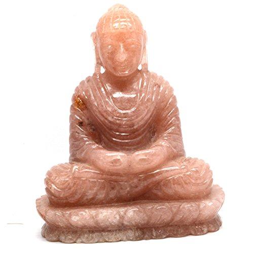 Cristales de sanación India®: Natural Gemstone–Figura de Buda Estatua tallada a mano envío gratuito con certificado de autenticidad gratuito