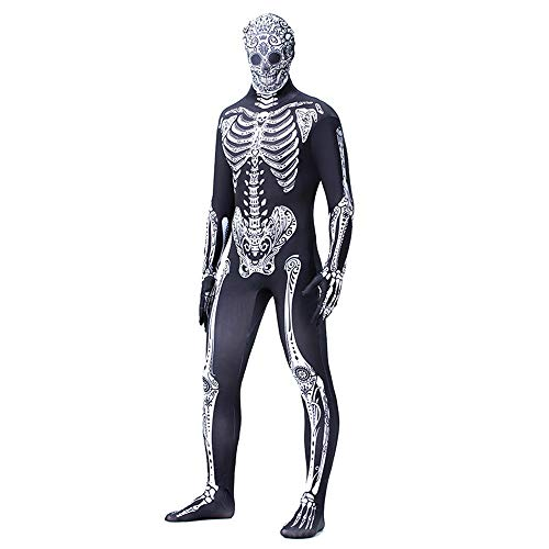 Erwachsene Für Kostüm Skelett Zentai - MOOSAGE Adult Cosplay Kostüm Schädel Human Zentai Bodysuit Insgesamt Scary Skeleton Halloween Kostüm Overalls Plus Size,L