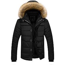 Doudoune en Coton, Internet Homme Hiver Chaud Manteau Plus épais Veste à Capuche (S, Noir)