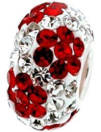 Piedras Andante Plata de ley 925plata de ley abalorios de cristal (Blanco Rojo) con flores–Elemento esférico para abalorios europeos + bolsita de organza
