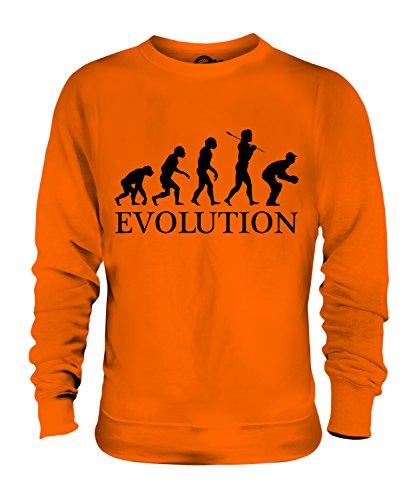 Candymix Cricket Wicket Keeper Evolution des Menschen Unisex Herren Damen Sweatshirt, Größe 2X-Large, Farbe Orange -