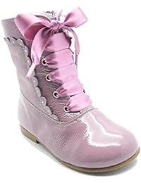 Pacualas Landos 38X55 - Botas pascualas en seraje y charol para niña, color rosa.