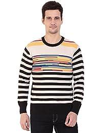 TAB91 Men's Cotton Rich Off White Round Neck Pullover