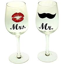 Mr. & Mrs. Copas de vino–Vasos beso en un juego de 2unidades