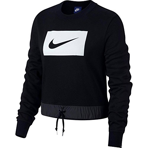 Nike Damen Sportswear Crew Crop Swoosh Langarm Oberteil, Black/(White), S (Top Nike Crop)