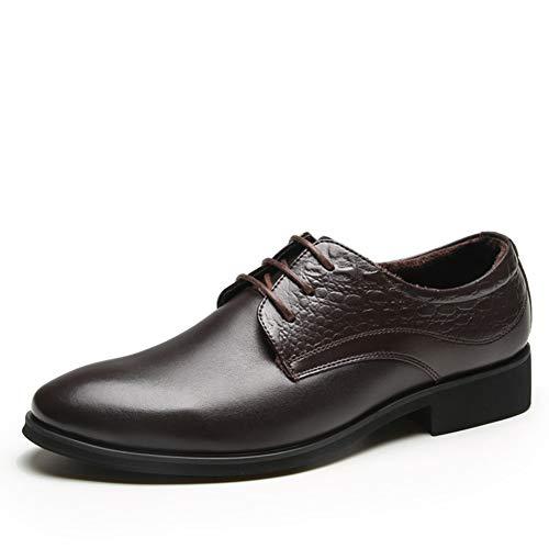 Leichte, formelle Business-Arbeitsschuhe mit Lederfutter für Herren, Schnür-, Slipper- oder Abendschuhe aus Leder für Herren, Brautschuhe mit Formelle Kleidung, spitz zulaufend-brown-40