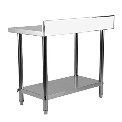 Blackpoolal Arbeitstisch Edelstahl Garten Küche Gastro Tisch Edelstahltisch mit aufkantung Küchentisch Arbeitstisch Anrichte Silber (100 x 60 x 95CM)