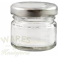 Paquete de 36 x 30ml tarros de mermelade pequenos con tapa de plata. Ideal para muestras, pequeños regalos y favores de la boda.