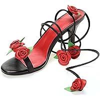 Bomba 8.5cm Estilete Slingback D'orsay Cruzar Correas de tobillo Sandalias Zapatos de boda Mujer Encantador Punta abierta Rosas Flor Tacones altos Zapatos De Vestir Zapatos casuales Tamaño de la UE 34 , black , 37