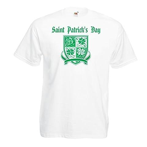T-shirt pour hommes Saint Patrick's day Shamrock symbol - Irish party time (XXXXX-Large Blanc Multicolore)