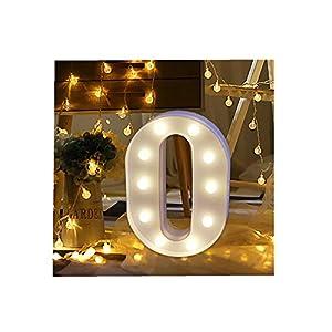 ODJOY-FAN 26 Englisch Brief Licht LED Letter Light Alphabet LED Beleuchtung Licht Oben Weiß Kunststoff Briefe Stehen Hängend A-M Wohnaccessoires Lichter Zubehör (O,1 PC)