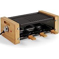 VonShef Parrilla de Raclette para 6 personas de 900 W - Mangos de madera, Temperatura Ajustable, Antiadherente - Cocina de interior para fiestas